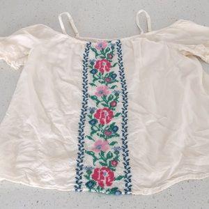 Old navy embroidered off the shoulder blouse boho